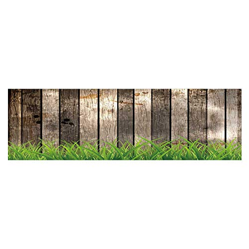 Fish Tank Background Decor Static Image Backdrop Wallpaper Sticker Cling Decals Antique Old Planks American Style Western Rustic Wooden with thick growth of grass Wallpaper Sticker Background Decorat