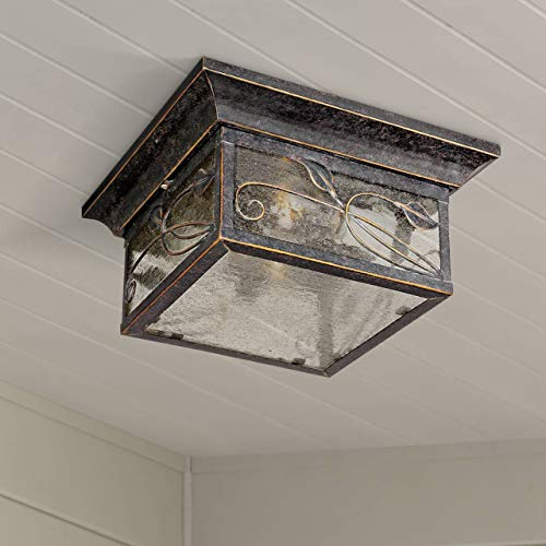 - French Garden Country Cottage Outdoor Ceiling Light Bronze Leaf and Vine Motif 11