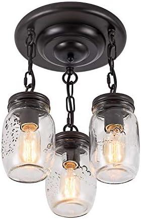 XIPUDA Mason Jar Lights Fixture Flush Mount Ceiling Light Farmhouse Pendant Lighting Kitchen Island Light Glass Retro Black Mounting Light