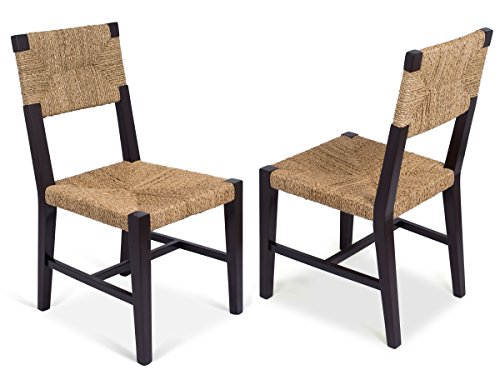 BIRDROCK HOME Rush Weave Side Chair | Set of 2 | Traditionally Woven Kitchen Dining Room Chair | Wooden Furniture | Fully Assembled | Black Finish