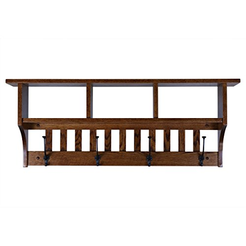 Wrought Rack Hat Iron - Rooms Organized Wall Mounted Mission 3- Cubby Coat hat Rack with Shelf Mission Oak Wood 42