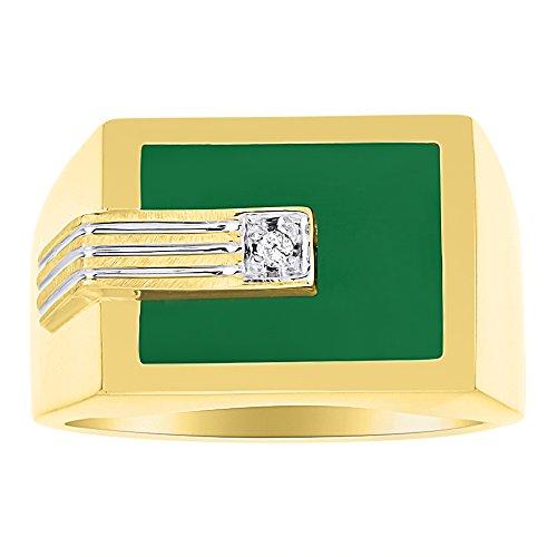 (Diamond & Green Onyx Ring 14K Yellow or White Gold)