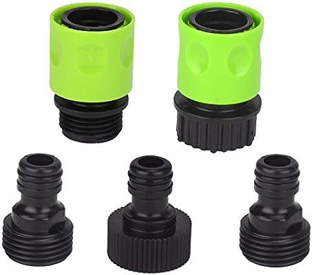 Set de 5 completo Kit de conexión rápida manguito de plástico Manguera de jardín adaptador para grifo conector: Amazon.es: Jardín