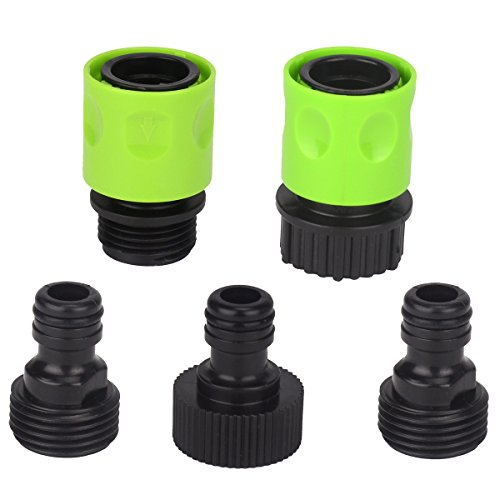 Set of 5 Complete Garden Hose Quick Connect Kit Plastic Hose Tap Adapter Connector
