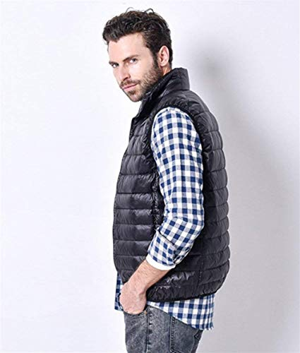 Vest Down Rmellos Quilted Quilted Collar Stand Lannister Men Schwarz Vest Quilted Lightweight Jacket Jacket Waistcoats Fashion Fall Down Packable qXExft
