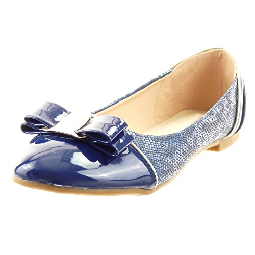 Sopily - Chaussure Mode Ballerine Cheville femmes peau de serpent nœud verni Talon bloc 1 CM - Intérieur synthétique - Bleu