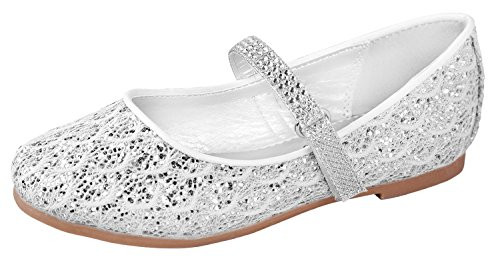 Little Angel Britt Lacy Glitter Dress Flats For Girls   Round Toe Flats   Adjustable Ankle Strap Shoes   Comfortable Flats With Strap   Holiday Shoes   Toddler   Infant   White 7 T -