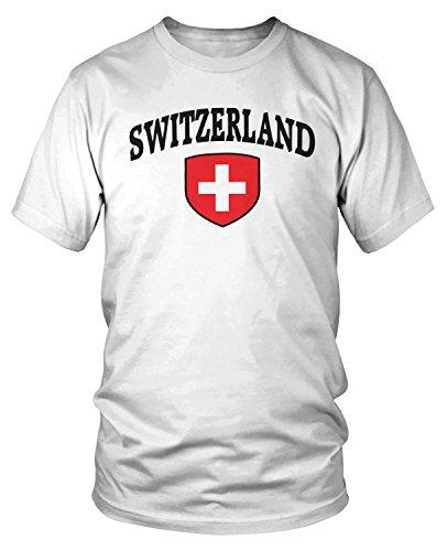 - Amdesco Men's Switzerland Flag Shield, Swiss Flag T-Shirt, White Small
