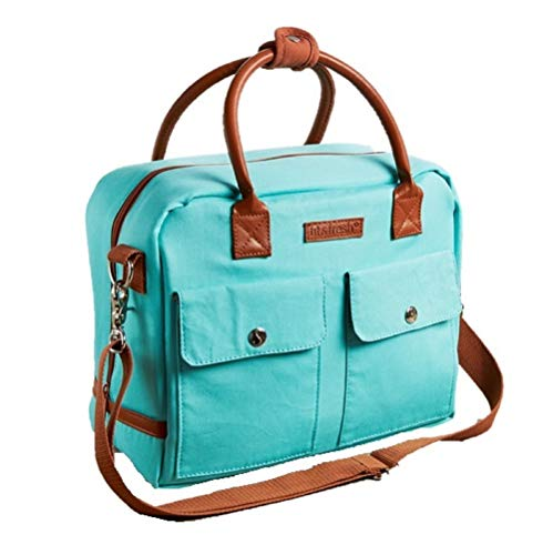 Fit & Fresh Margene Messenger Style Lunch Bag for Women, Insulated Tote for Travel or Work, Aqua