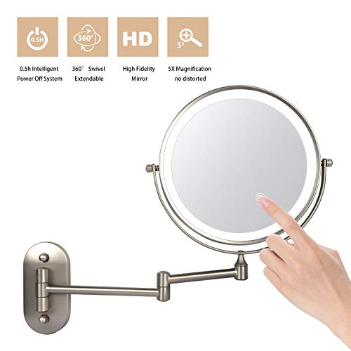 """ZEPHBRA Wall Mounted Makeup Mirror 8"""" LED Touch Screen Adjustable Light Double Sided 1X/5X Magnifying Vanity Mirror Swivel Extendable for Bathroom Hotels Powered by Batteries (Not Included) (Nickel)"""