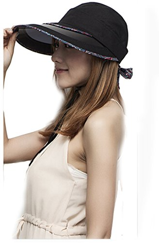 Women Summer Visual Removable Outdoor Uv Protection Sun Hat (Black)