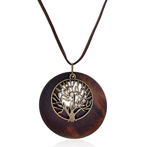 SIVITE Vintage Hollow Round Wooden Necklace Left Owl Tree of Life Charm Pendant Long Leather Chain Necklace ()