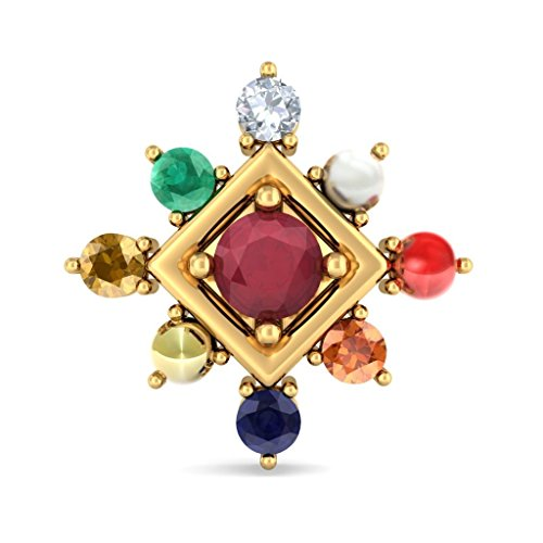 Or jaune 18K 0,06CT TW White-diamond (IJ | SI) et rubis et Navaratna Boucles d'oreille à tige