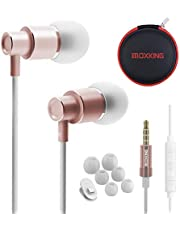 Wired Metal in Ear Earphones Headphones with Microphone Volume and Case, Bass Stereo Noise Isolating In ear Earphones Ear Buds for Cell Phones, Aluminum Alloy, Carabiner, 3.5mm Jack …