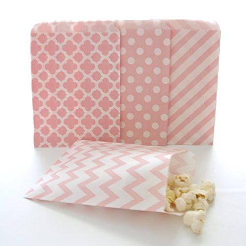 Pink Candy Buffet Bags / Wedding Favor Paper Treat Bags (100 Pack) - Pale Light Pink Stripe, Chevron, Spanish Tile & Polka Dot Girls Baby Shower Party Bags