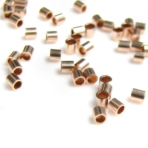 50 pcs 14k Rose Gold Filled Round 2mm x 2mm Crimp Tube Bead Spacer / Findings / Rose - Beads Gold Filled Crimp Tube