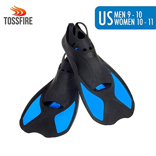 Universal Flippers Short Blade Floating Swimming Fins for US Size Men 9-10 Women 10-11 Ankle Width 3.1 Inch Thermoplastic Rubber Travel Fins for Surfing Swimming Diving Snorkeling Watersports – Blue