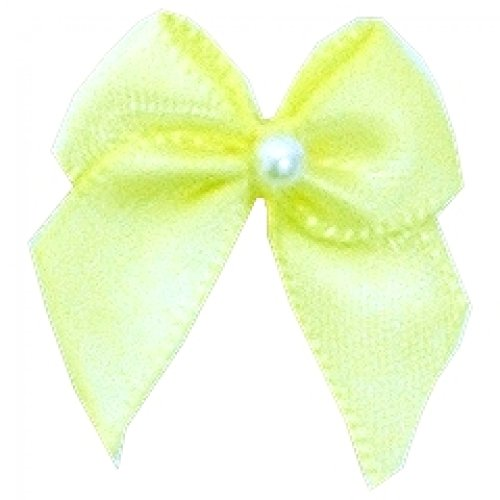 3 Mm Crossover - Berisford 3mm Ribbon Pearl Crossover Bows 617 Baby Maize - per pack of 6