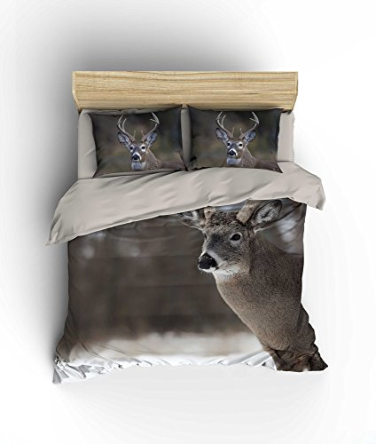 (LaModaHome Wildlife Duvet Cover Set, 100% Cotton, Deer Walks in Snowy Day in Africa - Set of 3 - Duvet Cover and 2 Pillowcases for King Bed)