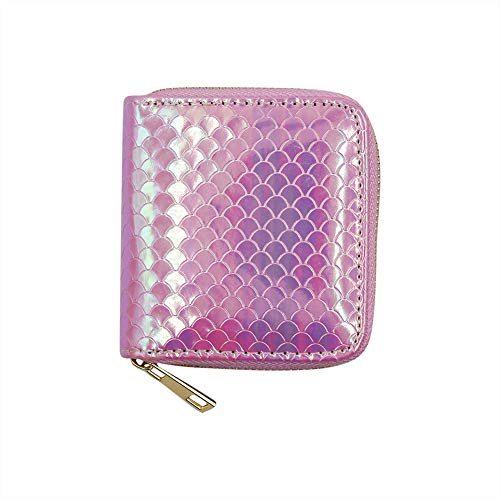 KINGSEVEN Sequin Mermaid Scales PU Leather Purse Credit Card Holder Wallet with Zipper for Women Girls