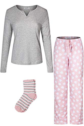 SofiePJ Women's Blend Cotton Top Plush Soft Fleece Pants with Sock Pajama Gift Set Grey Pink M