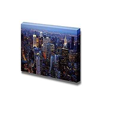 Canvas Prints Wall Art - New York City Night View Beautiful Cityscape | Modern Wall Decor/Home Decoration Stretched Gallery Canvas Wrap Giclee Print & Ready to Hang - 24