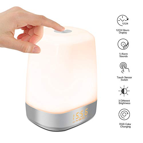 SOLLED Wake Up Light Digital LED Alarm Clock Dimmable Warm White Sunrise Simulation Table Lamp Touch Control Multicolor Dimmable with 5 Natural Sounds