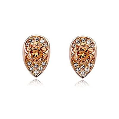 Mother's Day Gifts 18K Gold Drop Shape with Orange and Clear Austrian Crystal Stud Earrings E363