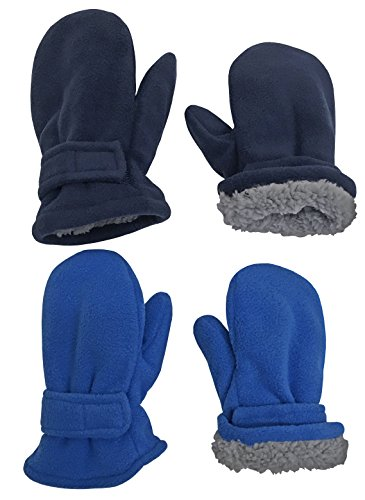 Easy Mittens (N'Ice Caps Little Kids and Baby Easy-On Sherpa Lined Fleece Mittens - 2 Pair Pack (2-3 Years, Navy/Royal Pack))