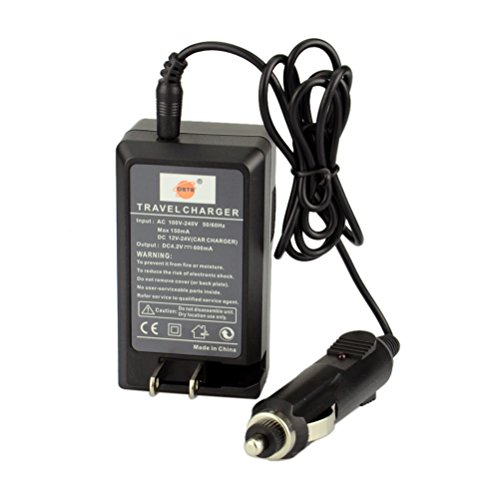 DSTE Replacement for VW-VBK180 Battery + DC106 Travel and Car Charger Adapter Compatible Panasonic SDR-H100 H101 HC-V500 V700 HDC-HS80 SD90 TM80 TM90 Camera as VW-VBL090