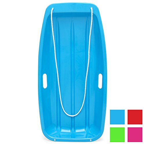 - Best Choice Products 35in Kids Outdoor Plastic Sport Toboggan Winter Snow Sled Board w/Pull Rope, 2 Handles - Ice Blue