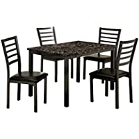 Furniture of America Casella 5-Piece Faux Marble Top Dining Table Set, 48-Inch