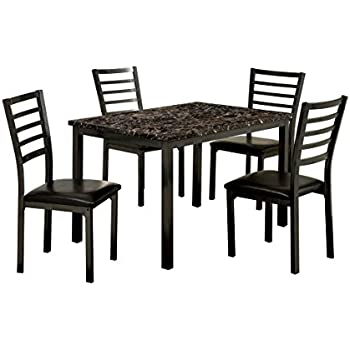 Furniture Of America Casella 5 Piece Faux Marble Top Dining Table Set, 48