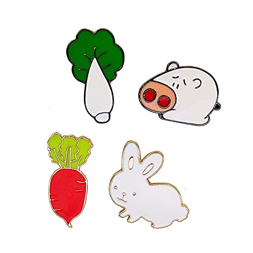 Fashion Cartoon Enamel Brooch Pins Set for Unisex Child Women's Clothing Decorate (Pig with Cabbage & Rabbit with Radish)