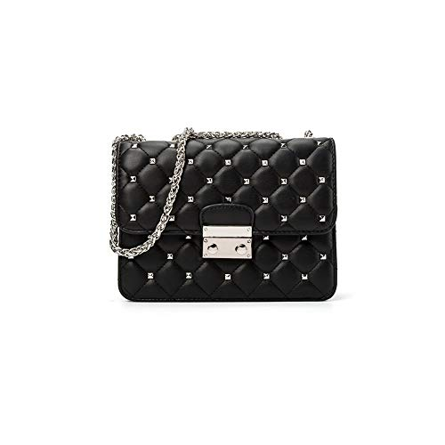 Mishuo Women Small Quilted Chain Flap Handbag Purses Bag Shiny Star Studded (Black)