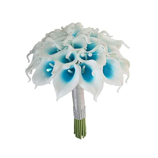 Lily Garden Artificial Wedding Floral Set Turquoise and White Calla Lily with Silver Ribbon and Bling (Island Blue Picasso 3 Dozen Bouquet)
