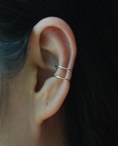 Amazoncom 2 Band 20 Gauge Ear Cuff No Piercing Cartilage Ear Cuff
