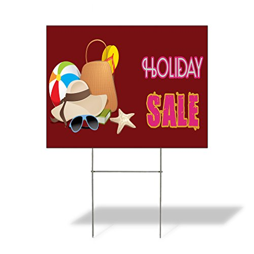 Plastic Weatherproof Yard Sign Holiday Sale #1 Hat, Sun Glasses, Bag, Slippers, Ball, Book, Star Fish Sales Red for Sale Sign Multiple Quantities Available 18inx12in One Side Print One Sign