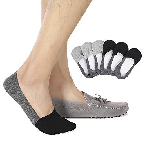 (Joulli Casual No Show Liners Socks For Men 6 pack Non Slip Boat Socks,Black Gray,light Gray,Small)