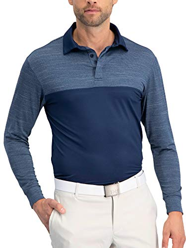 Three Sixty Six Long Sleeve Polo Shirts for Men - Mens Long Sleeve Golf Polos - Dry Fit Fabric Midnight Blue