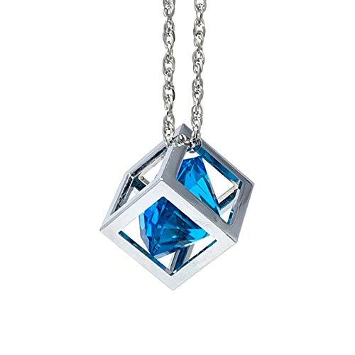 Bling Car Decor Blue Diamond Cube Rear View Mirror Charms, Floating Crystal Car Mirror Charms, Sun Catcher Hanging Ornament w/Chain, Bling Car Accessories, Car Charm & Home Decor Ornament (Blue)