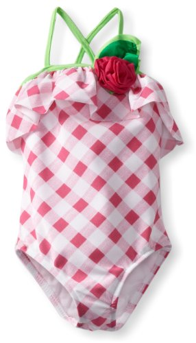 Love U Lots Little Girls'  1 Piece Swimsuit Gingham Check With Rose And Ruffle, Pink/White, 2t
