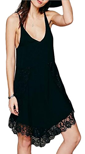 Womens Dress Spaghetti Beach Neck V Jaycargogo Lace Strap Loose Black gZxdq8
