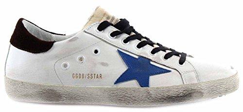 Golden Goose Scarpe Sneakers Uomo Superstar White Leather Bluette Star Pelle New