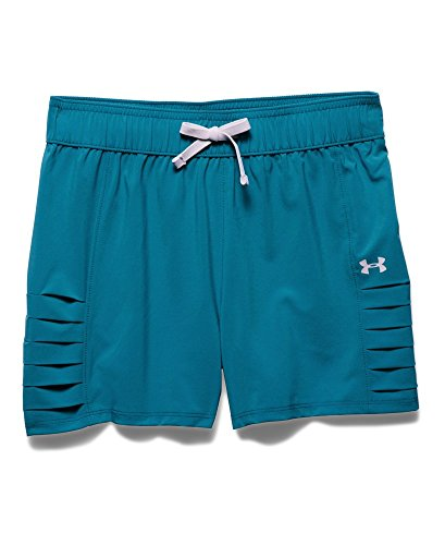 Under Armour Big Girls' UA Woven Short Youth Small TEAL - Youth Blast