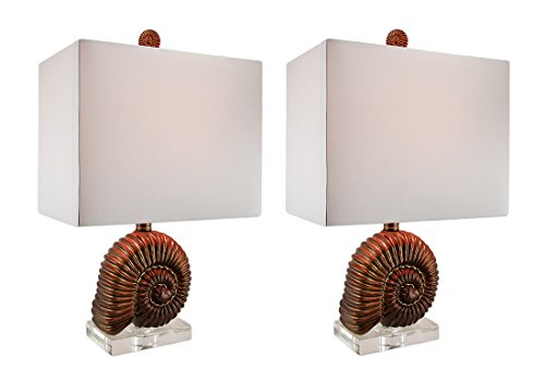 Spiral Resin Table Lamp - Resin And Glass Table Lamps Antique Gold Finish Ammonite Shell Table Lamp W/Fabric Shade Set Of 2 12 X 20 X 8 Inches Gold