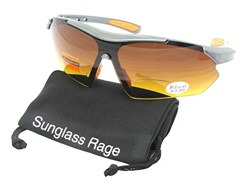 Style B35 HD Bifocal Sports Sunglasses With Sunglass Rage Pouch (Gray Frame-Orange Pads, - Sunglasses 9.99