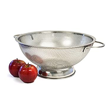 Culina Finely Perforated Stainless Steel Colander with handles, 5-Quart