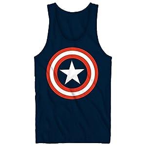 Captain America Men's Marvel 80'S Tanktop, Navy, Small