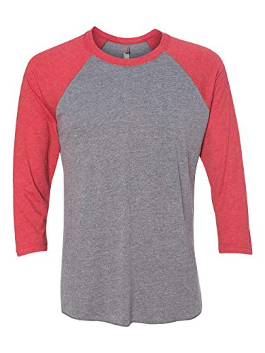 - Next Level Apparel 6051 Unisex Tri-Blend 3 by 4 Sleeve Raglan - Vintage Red & Premium Heather44; Small